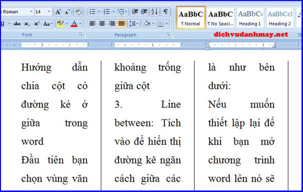 chia cột trong word